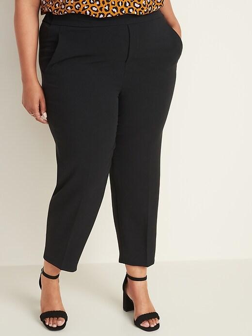 Mid-Rise Secret-Slim Pockets Plus-Size Pull-On Straight Pants