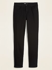 Mid-Rise Power Slim Straight Black Jeans for Women