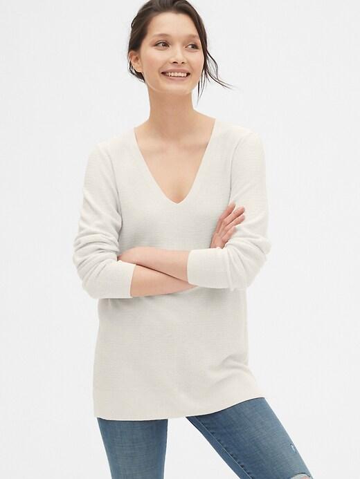 True Soft Textured V-Neck Tunic Sweater