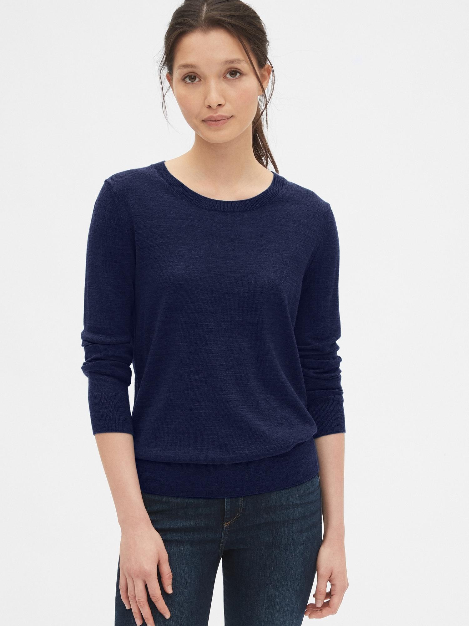 メリノウールクルーネックセーター