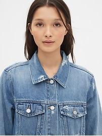 Distressed Oversized Icon Denim Jacket