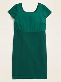 Secret-Slim Ponte-Knit Plus-Size Sheath Dress