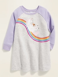 Unicorn-Graphic French-Terry Swing Dress for Toddler Girls