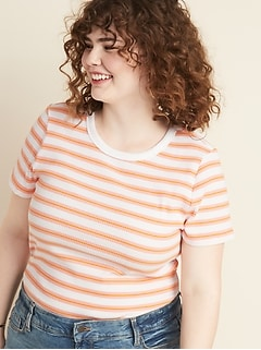 987c580be Short-Sleeve. Slim-Fit Striped Rib-Knit Plus-Size Tee