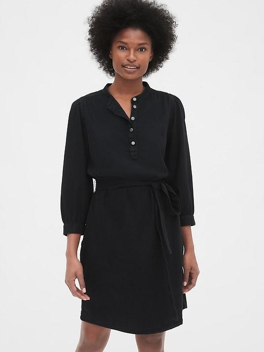 Shirred Popover Denim Shirtdress