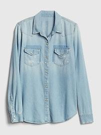 Distressed Denim Western Shirt