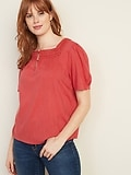 Deals on Old Navy Crochet-Lace Trim Square-Neck Blouse for Women