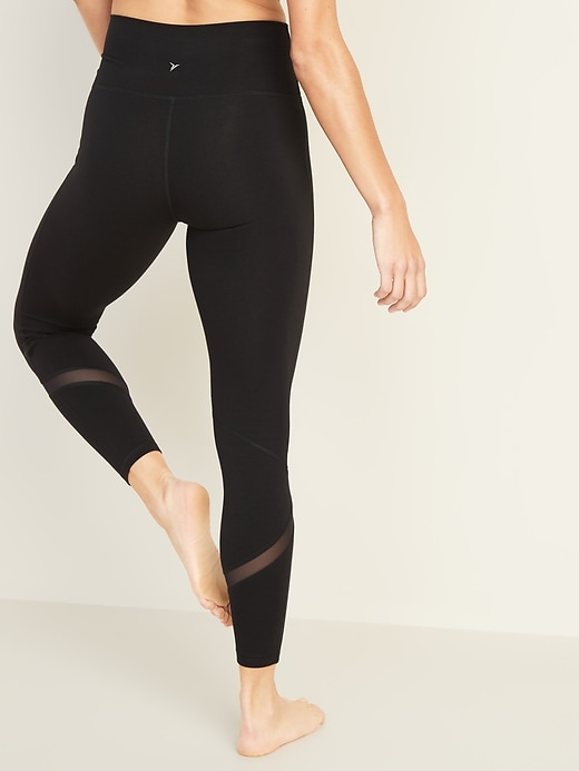 High-Waisted Balance Mesh-Splice 7/8-Length Leggings For Women