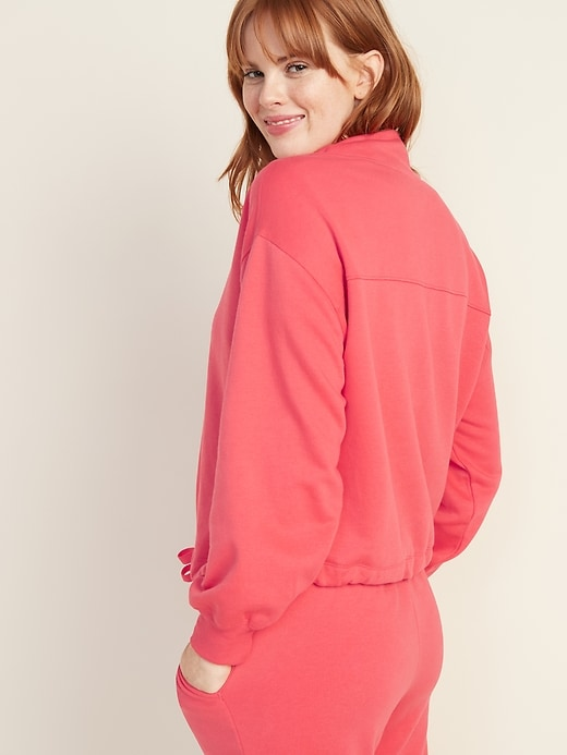 French Terry Logo-Graphic 1/4-Zip Drawstring-Hem Pullover for Women
