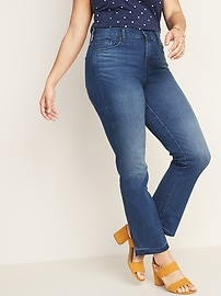 High-Waisted Raw-Edge Flare Ankle Jeans For Women