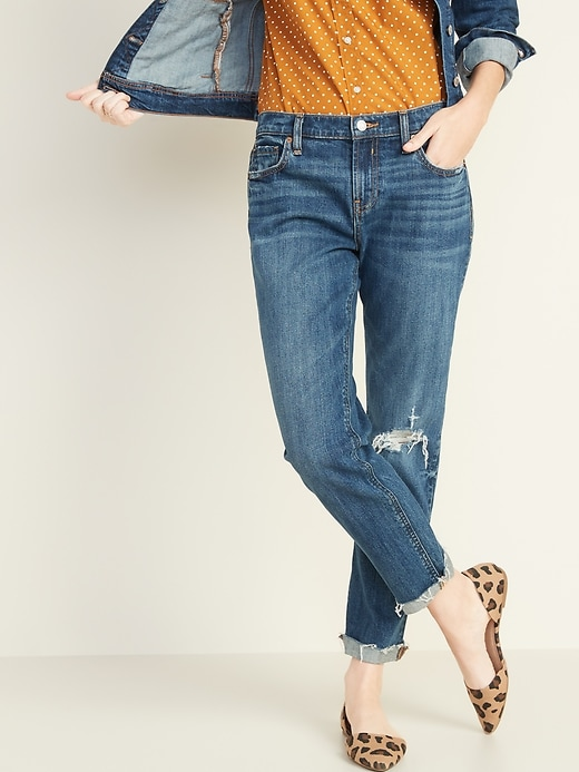 Mid-Rise Boyfriend Straight Distressed Jeans for Women