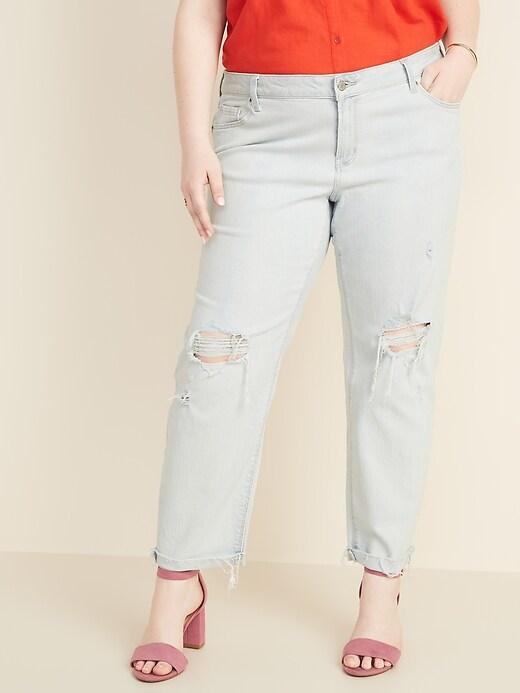 Mid-Rise Boyfriend Straight Plus-Size Distressed Jeans