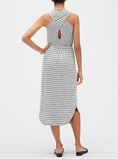 05e392b90ce3 Stripe Print LuxeSpun Crossback Midi Dress