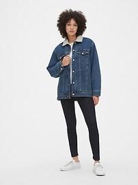 Sherpa-Lined Oversized Icon Denim Jacket