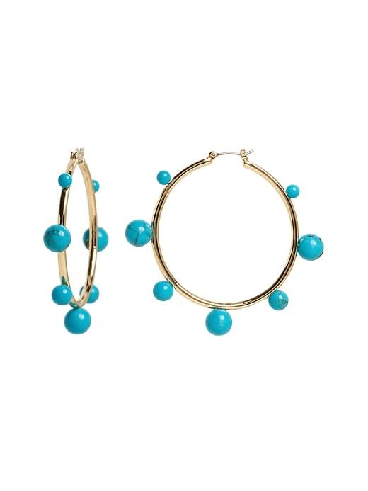 Turquoise Bauble Hoop Earrings
