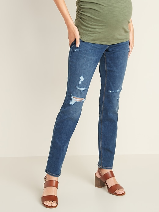 Maternity Full Panel Distressed Universal Straight Jeans