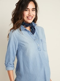 Maternity Chambray Popover Shirt