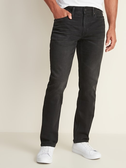 Built-In Flex Straight Black Jeans For Men