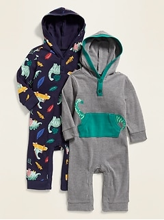 73578a6aa99726 Hooded Printed Henley One-Piece 2-Pack for Baby