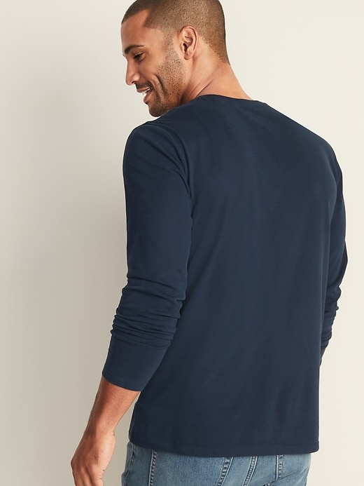 Soft-Washed Long-Sleeve Henley for Men