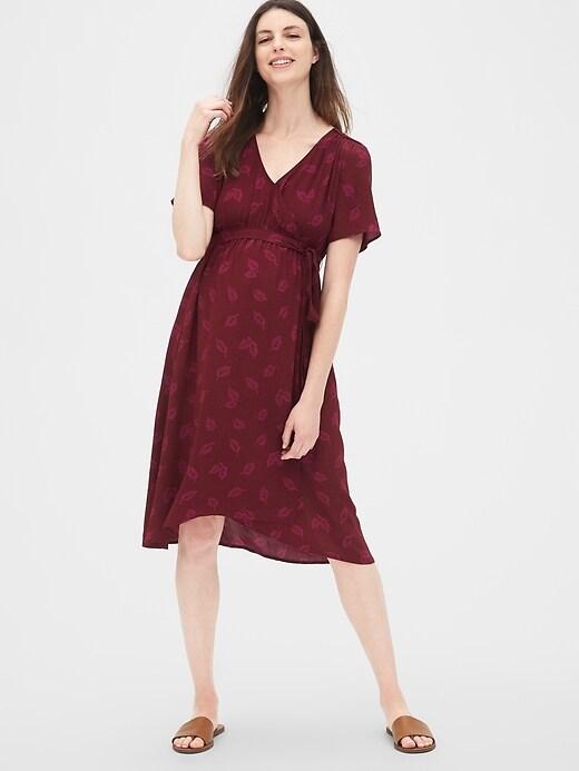Maternity Print Faux-Wrap Dress