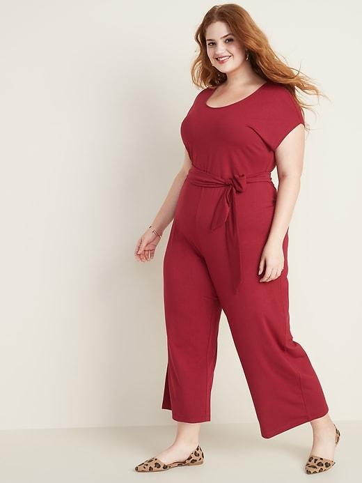 Jersey Tie-Belt Wide-Leg Plus-Size Jumpsuit