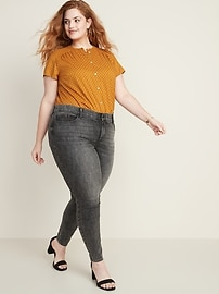 Button-Front No-Peek Plus-Size Blouse