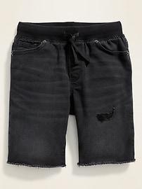 Karate Rib-Knit Waist Built-In Tough Cut-Off  Jean Shorts for Boys
