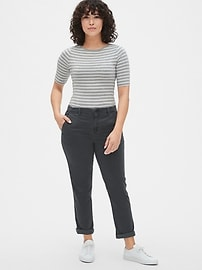 Girlfriend Twill Stripe Khakis
