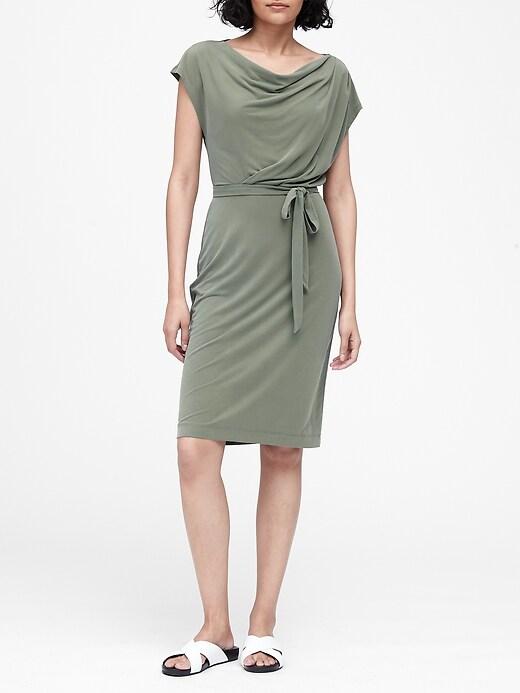 Sandwash Modal Cowl-Neck Dress