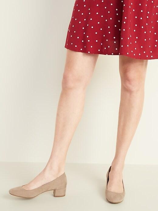 Faux-Suede Mid-Heel Pumps for Women