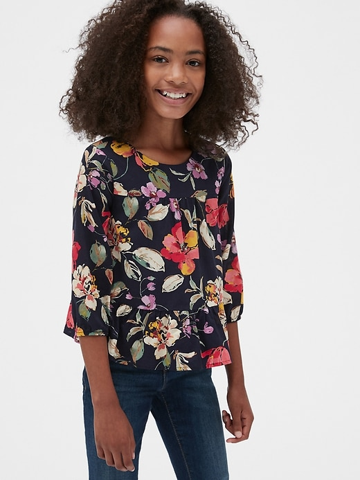 Kids Floral Peplum Top