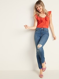 High-Waisted Distressed Power Slim Straight Jeans For Women