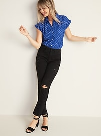 High-Waisted Distressed Power Slim Straight Black Jeans For Women