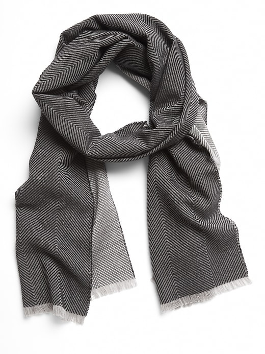 Herringbone Cotton-Wool Scarf