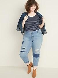 Mid-Rise Distressed Plus-Size Boyfriend Jeans