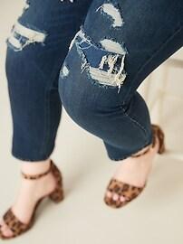 High-Waisted Secret-Slim Pockets + Waistband Distressed Power Slim Straight Plus-Size Jeans