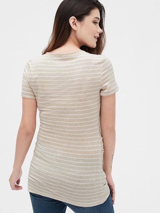 Maternity Pure Body Stripe V-Neck T-Shirt