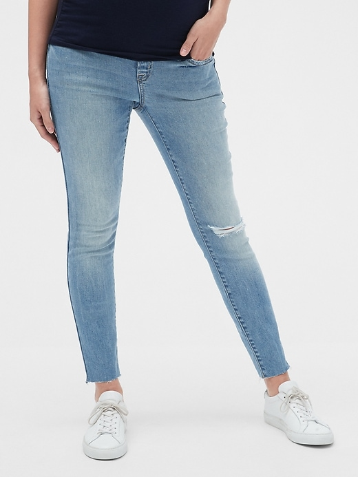 Maternity Soft Wear Comfort Panel True Skinny Jeans with Distressed Detail