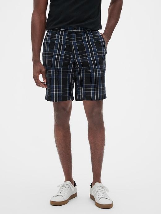 """10"""" Aiden Slim-Fit Blue Black Plaid Shorts"""