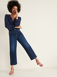 High-Waisted Dark-Wash Wide-Leg Jeans For Women