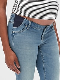 Maternity Soft Wear Inset Panel True Skinny Jeans with Distressed Detail
