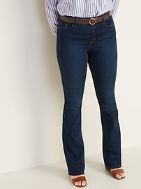 Mid-Rise Dark-Wash Micro-Flare Jeans for Women