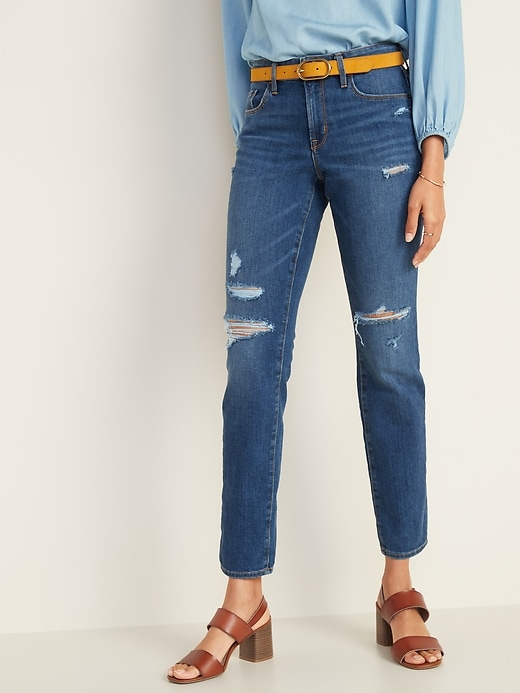 Mid-Rise Distressed Power Slim Straight Jeans for Women