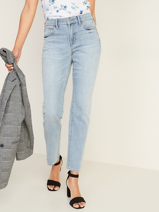 Mid-Rise Light-Wash Power Slim Straight Jeans for Women