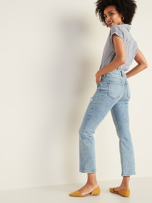 High-Waisted Distressed Flare Ankle Jeans for Women