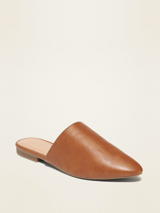 Faux-Leather Pointy-Toe Mule Flats for Women