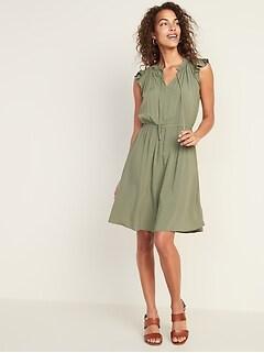 4e6aded5a70 Waist-Defined Tie-Neck Dress for Women