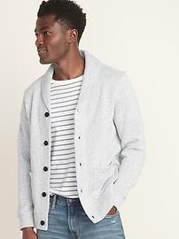 Sweater-Fleece Shawl-Collar Cardigan for Men