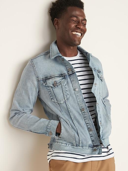 Built-In Flex Light-Wash Jean Jacket For Men